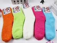 1lot =5pairs =10pcs Multi color candy stripe thick towel sock thermal floor warmer socks for women and female