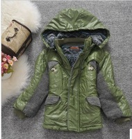 New arrival ad02 children's clothing 2013 winter candy color plus velvet hooded thickening cotton-padded jacket cotton-padded