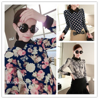 2014 fashion women chiffon shirt hubble-bubble sleeve lapel shirt/3 Three color, free shipping
