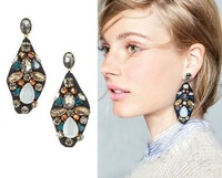 Min Order $15(Can Mix Item)Fashion Vintage Imitation Gem Blank Water Drop Earrings For Women