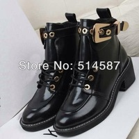 Hot women motorcycle boots black leather platfrom ankle booties metal buckle leisure shoes Fall footwear sneakers size 35 to 41