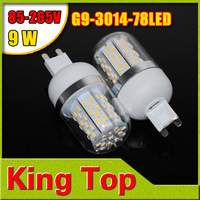 AC85V-265V G9 SMD3014 78LEDs Led Corn Bulb 9W White/Warm White Color Chips Corn lamp LED Bulb Free Shipping 1Pcs/Lot