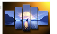 Hot Sell! Abstract Modern Wall Deco Oil Painting :Sea beauty 5PC (No Frame)