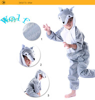 2013 Anime Animal Children's Cartoon   Wolf  Kigurumi Kids in  Velboa Onesie Pajamas Sleepwear