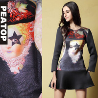 Free DHL! Spring Fashion women's vintage print o-neck long-sleeve slim knitted one-piece dress