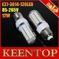 New Arrival White Warm White LED Lighting 12W 85V-265V Wide Voltage Led Lamp E27 Smd3014 120LEDs Chips Corn Bulbs 1Pcs
