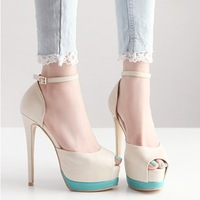 Hot-selling ! Fashion High-Heeled Shoes Sexy 14cm Hasp Open Toe Platform Thin Heels Sandals Free Shipping