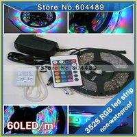 SMD 3528 rgb led strip 300leds no-waterproof light+ 24keys IR remote controller + 12V 2A power adaptor Free shipping!