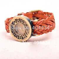 hollow cow leather braided watch men women casual quartz watch 1000pcs/lot