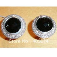 Free Shipping 100% Sterling Silver Earrings.Designer Silver Jewelry 10mm Black Onyx  Earrings