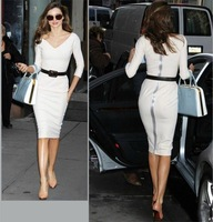 Free shipping the same paragraph star Victoria Beckhams European style white dress sexy package hip Slim #S0299
