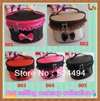 Free Shipping women's cosmetic bags coffee/black/rose/orange dot makeup case
