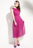 HOT! autumn fashion sexy elegant translucent silk chiffon pleated dress princess dress casual swing,free shipping