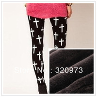free shipping 2013 Winter women cotton blends thermal warm leggings with white cross printed