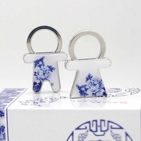 Blue and white porcelain lovers keychain set key chain gifts abroad
