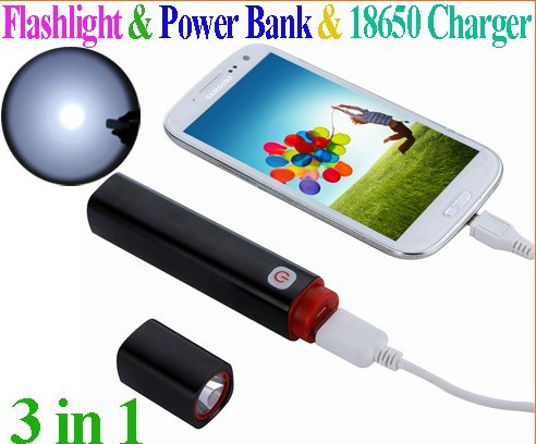 High quality 3 in 1 Multi-function Portable 350LM Mini LED Flashlight torch & Power Bank &18650 Charger Free Shipping(China (Mainland))