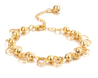 Wholesale Bridall Jewelry Korean Style Shining Circles 18K Gold Plated Beaded Chain Bracelets & Bangles Woman Free Shipping