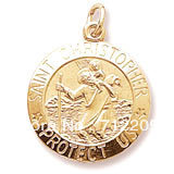free shipping 12pcs a lot gold plated SAINT CHRISTOPHER PROTECT US Charm religious jewelry accessory(H104926-1)
