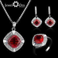 Party Jewelry Sets Red Cubic Zirconia  #JS100406 Jewelora  Genuine 925 Sterling Silver Jewelry Sets For Women