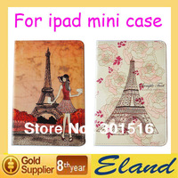Popular New PU Leather Hand-painted good quality Eiffel Tower Case for Apple ipad mini leather case free shipping
