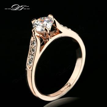 Classic CZ Diamond 1ct Свадьба Finger Ring 18K Золото Plated Crystal Paved Модный ...