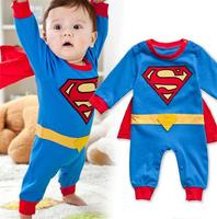 Baby Boy Romper Superman Long Sleeve with Smock Infant Cartoon Halloween Christmas Costume Gift Children Kids Autumn #S0300