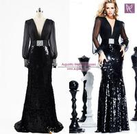 AML3382 New Arrival Long Sleeves V-neck Memaid Elegant Black Chiffon Evening Dresses 2014