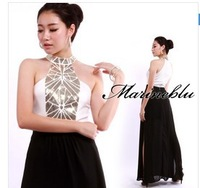 New ArrivaL, 2014 Free Shipping Summer Solid Sequined Sexy Patchwork Chiffon Straight Floor-length Sleeveless Long Party Dress