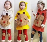 Free Shipping Kids Girl' 2 PCS Set Girl Sport Suit Children donkey Casual Sets Baby  Lapel  Top & Pants