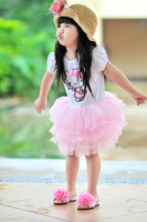 Girls Hello Kitty  Short Sleeve T Shirt style dress Children Kids Clothing baby tutu skirts Summer Wear