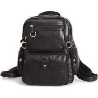 Preppy Style Black Color Genuine Leather Black Color Travel Backpack Satchel Bag For Men And Women Double Shoulder Bag