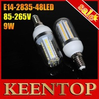 SMD2835 9W AC85V-265V Led Corn bulb White/Warm White E14-2835-48LEDs Vailable LED Chips  Corn lamp LED Bulb 1Pcs/Lot