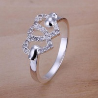 Low Price! Wholesale 925 Silver Plated Heart to Heart Ring, Fashion Jewelry High Quality Classic Ring Free shipping R125