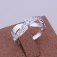 Low Price! Wholesale 925 Silver Plated Inlaid Stone Cross Ring , Fashion Jewelry Classic Free shipping R162