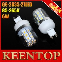 White/Warm white 27LEDs 6W G9 SMD2835 AC85V-265V Led Corn Bulb Vailable LED Chips  Corn lamp LED Bulb 4Pcs/Lot