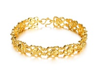 Wholesale Fashion Jewelry Heart of Flower Exquisite Pattern 18K Gold Plated Chain Bracelet of Lady Free Shipping