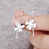 Fashion JF brand 925 pure silver earrings vintage long design drop earring four leaf clover earring women's silver jewelry