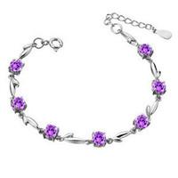 Fashion JF brand 925 pure silver bracelet note CHOW TAI FOOK amethyst lovers bracelet Women silver jewelry