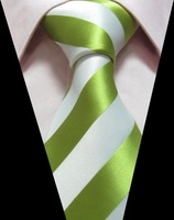 Green and White Wide Line JACQUARD Silk Classic Woven Man's Tie Necktie TIE042