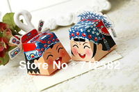 Chinese style wedding candy box wedding favors candy boxes made of cardboard bride and groom per pair wholesale