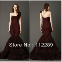 Sexy One Shoulder Mermaid Layered Wine Red Wedding Dresses For Sale HZ3651