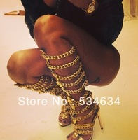 2014 Designer brand Gladiator boot with heels, newest sexy black sheepskin boots in the gold chain high heels LongSandal