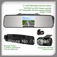 3.5inch  bluetooth rearview mirror with car HD 720P DVR Camera with wireless reverse camera