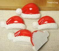 Yearning Accessories DIY Flat back Cabochon Resin Red Christmas Hat Decoration Fit Mobile phone Hairpin Headwear 24*15MM 100pcs