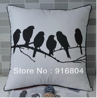 Free Shipping !!! Creative Vintage Birds On Tree Brnach Pattern One Side Printing Covered Edge Cushion Cover 45cm *45cm Size
