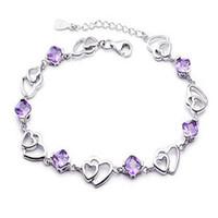 Fashion JF brand Zircon bracelet CHOW TAI FOOK natural amethyst lovers jewelry fashion silver jewelry