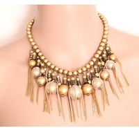 Fashion fashion trend of the ttwv gold gorgeous unperfected elegant design short tassel necklace cxt91460