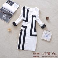 2014 autumn irregular stripe square grid color block patchwork OL outfit elegant slim one-piece dress winter dress women AS0183