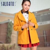 Wool wool coat outerwear female autumn and winter women large lapel top preppy style