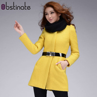 Slim woolen outerwear wool o-neck thick overcoat medium-long wool coat female